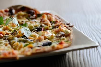 Homemade mediterranean pizza