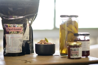 A range of local olives, preserves and condiments from the shop